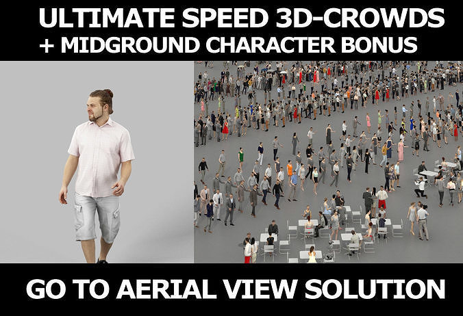 3d crowds and Keen Shorts a Midground Casual Man Summer Walking