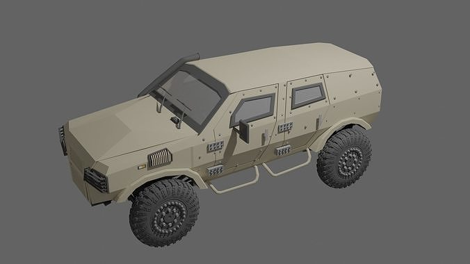 Low poly war vehicle war jeep with interior