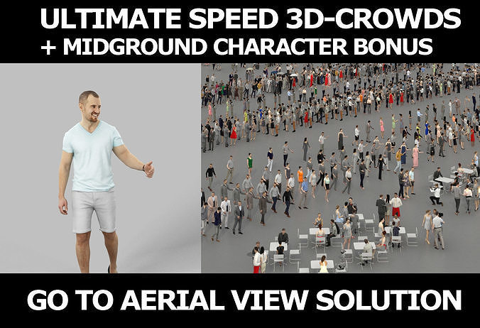 3d crowds and Master midground Casual Summer Man Walking