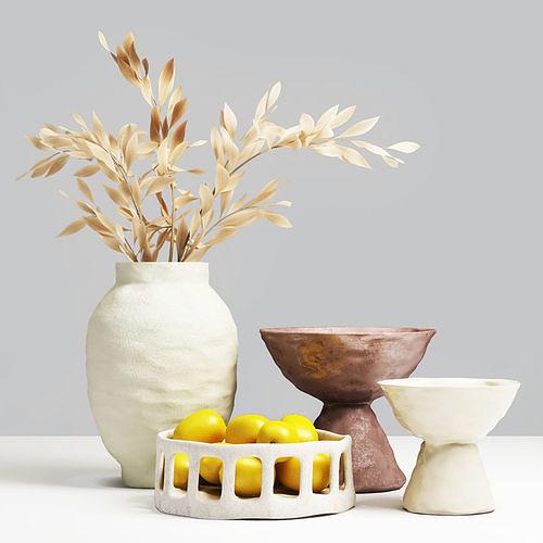 Decorative set of vases with lemons