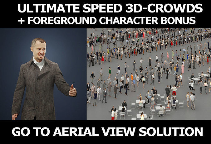 3d crowds and Master A Foreground Walking Business Man