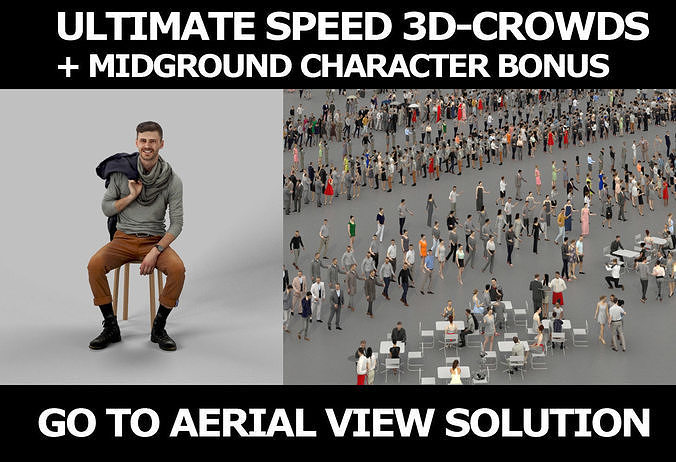 3d crowds and Posture Midground Casual Man Sitting Hipster