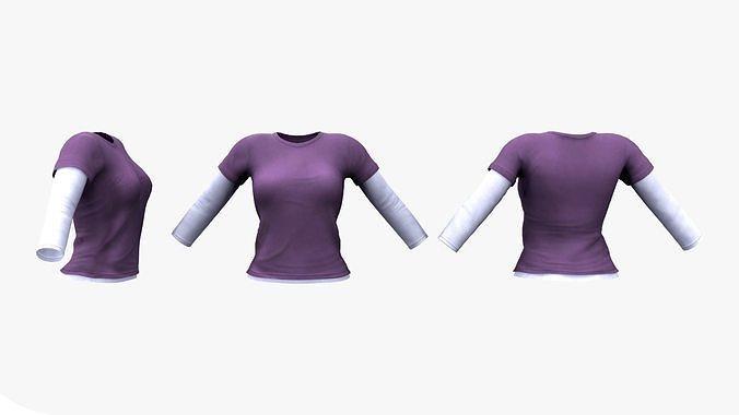 Female Long Sleeve T-shirt 2in1