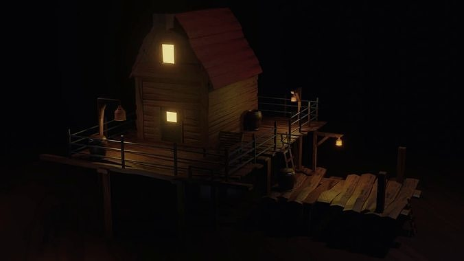 lowpoly Hunter House 3D Model