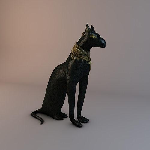 low poly bastet statue 3d model low-poly max obj mtl 3ds fbx c4d stl 1