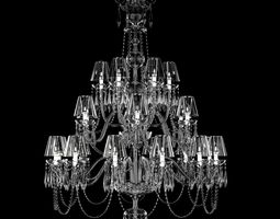 waterford ardmore 24-arm chandelier with crystal shades 3d model