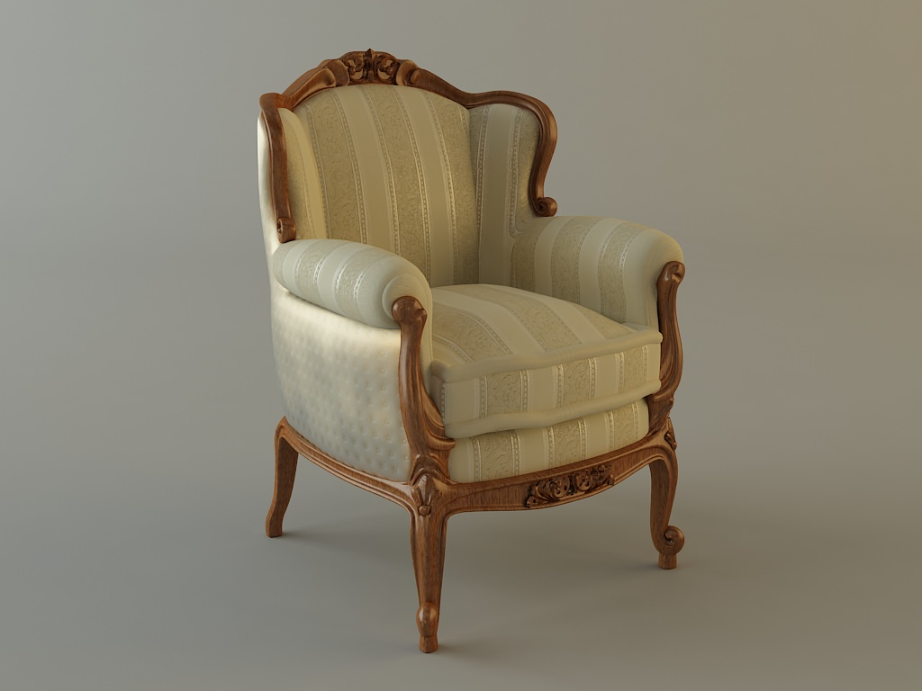 ... antique armchair 3d model max obj mtl 3ds fbx 3 ... - Antique Armchair Ornate 3D Model CGTrader