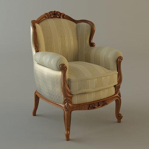 antique armchair 3d model max obj mtl 3ds fbx 1