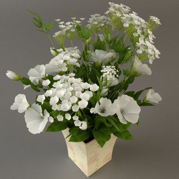 3D model White Flower Bouquet in Vase | CGTrader