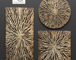 rotten wood wall art - set  3d