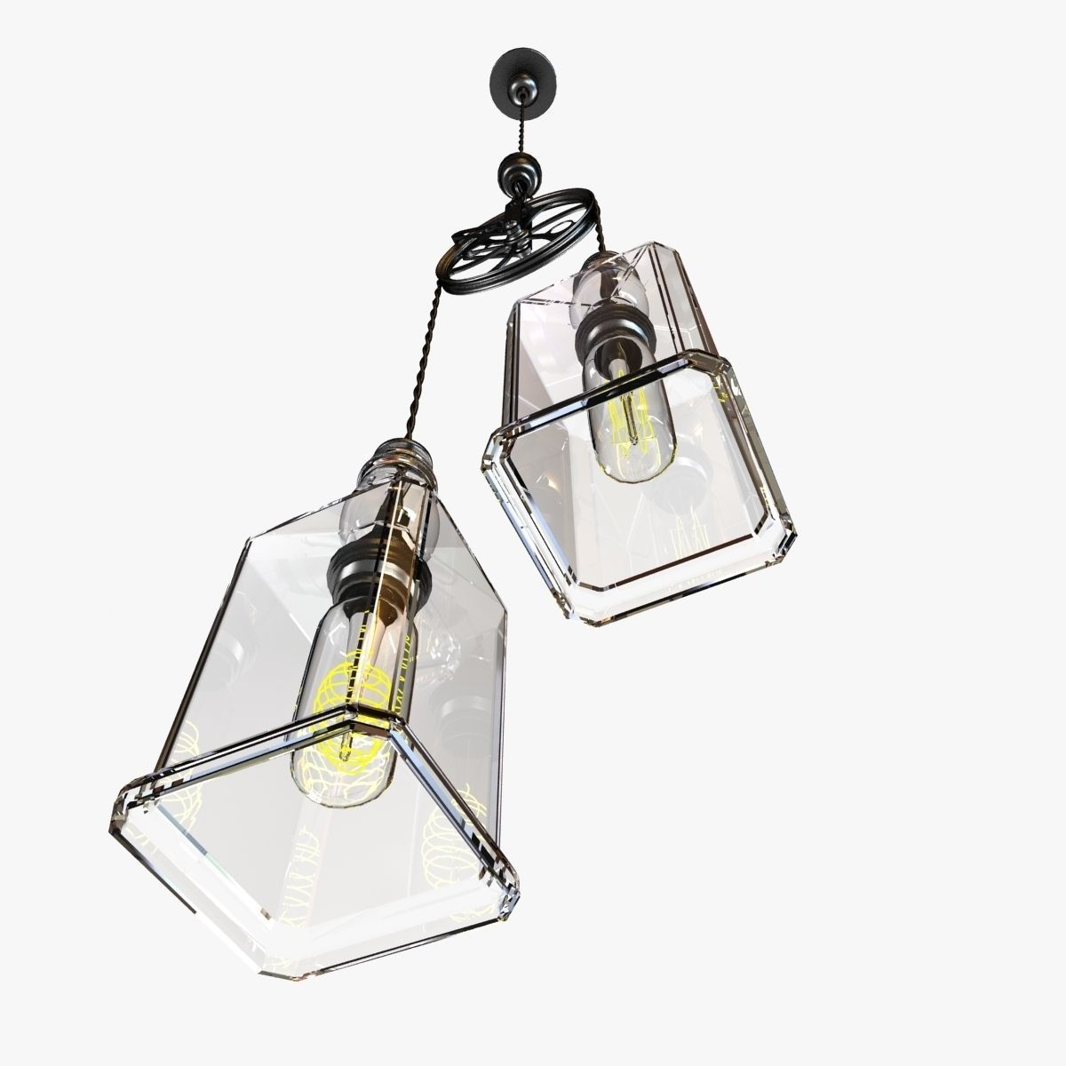 Whiskey Bottles Pulley Pendant Lighting 3D Model MAX OBJ