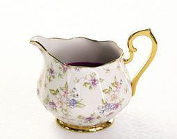 3d detailed porcelain jug with flowery design