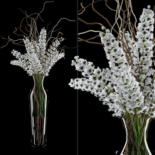 3d Model White Delphinium In Tall Vase With Willow