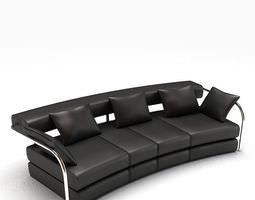 Modern Leather Black Couch 3D