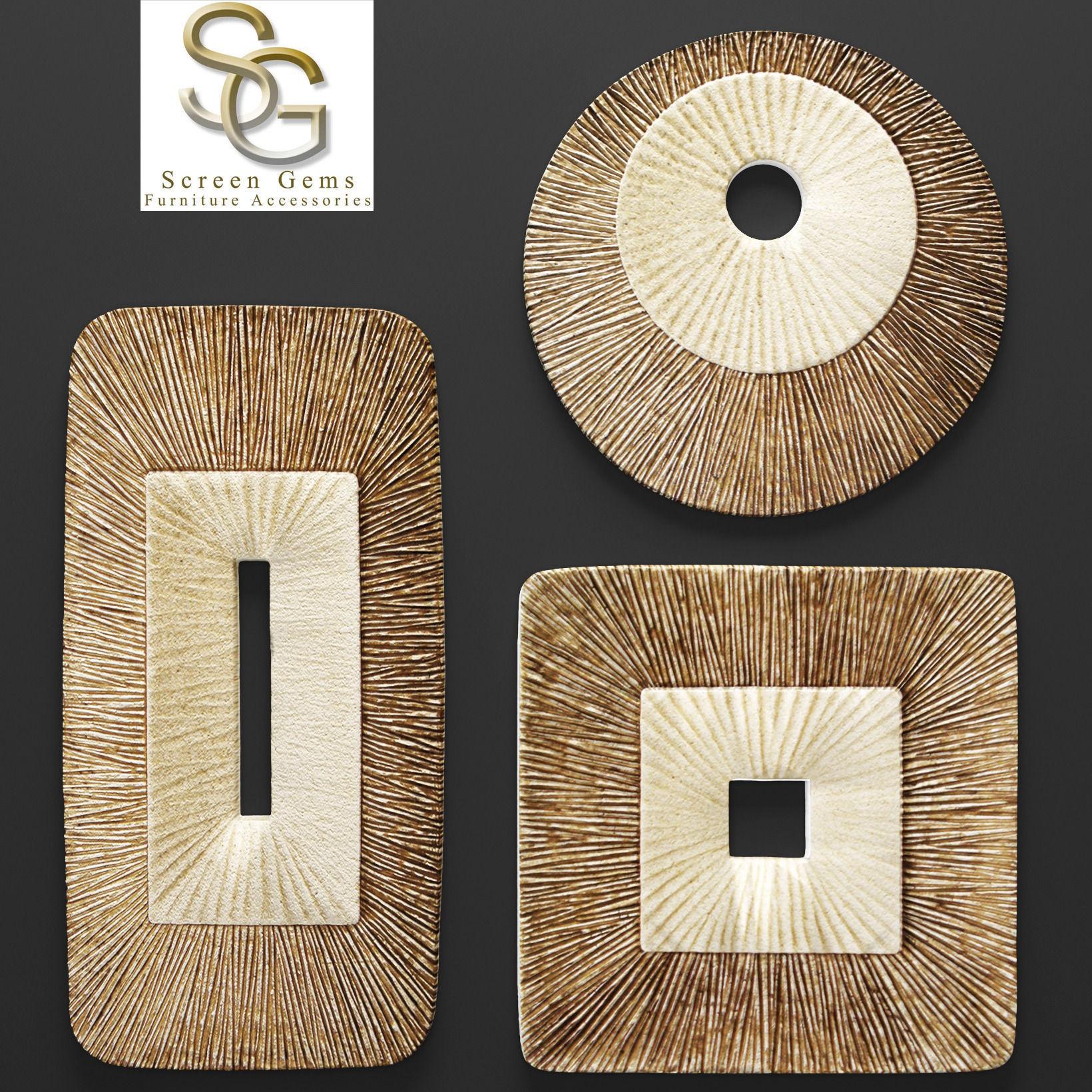 Concave Ribbed Plaque Wall Art - Set