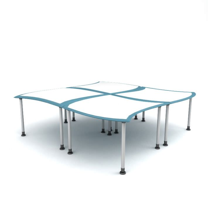 Square office table 27 3d model max obj fbx c4d elite for Office table 3d design