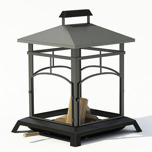 metallic black old style garden grill 3d model  1