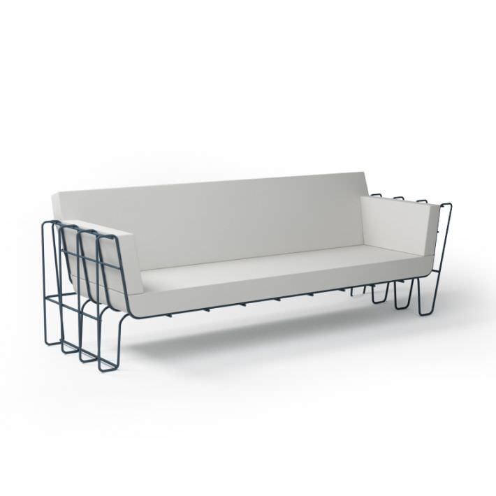 3D model White Leather Sofa With Metal Frame   CGTrader