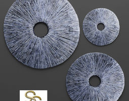 Sandstone Ribbed Wall Art - Set 3D