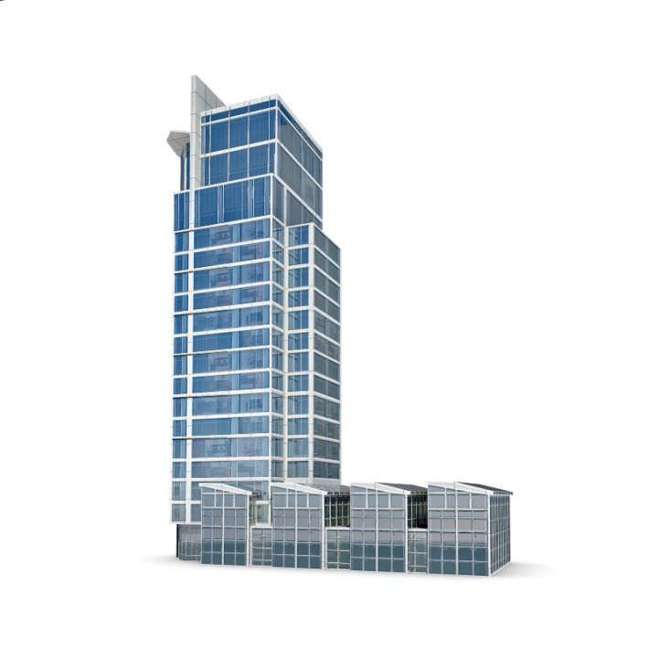 high glass skyscraper 3d model 1