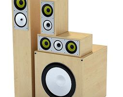 3D Wooden Sound Stereo System