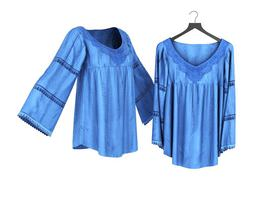 3D model Renaissance Styled Blue V Neck Blouse