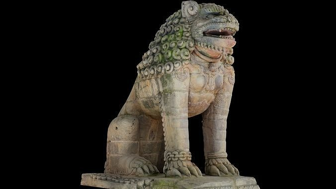 Lion guardian with 3 LOD - Nepal Heritage