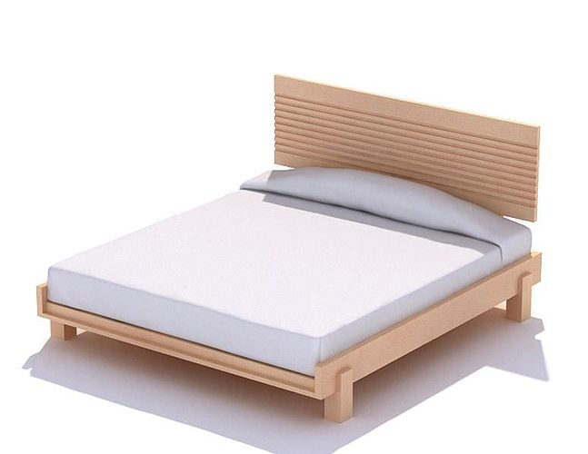 Wooden Platform Bed 3d Model