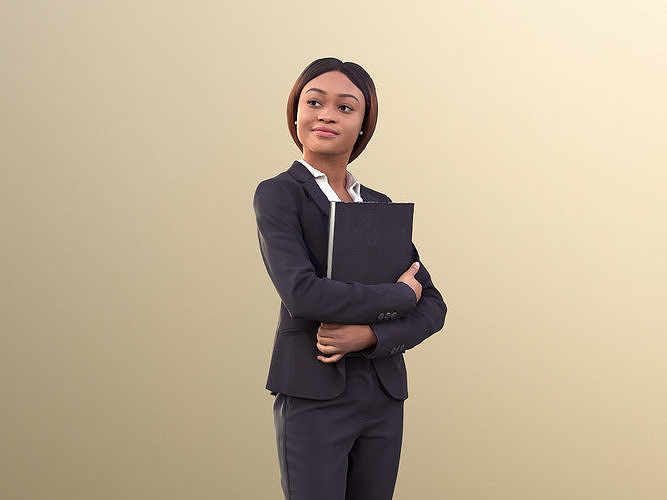 Iona 10619 - Black Business Woman Standing Holding A Document