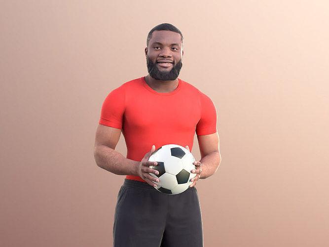 Gabriel 10920 - Black Man Holding A Ball Playing Soccer