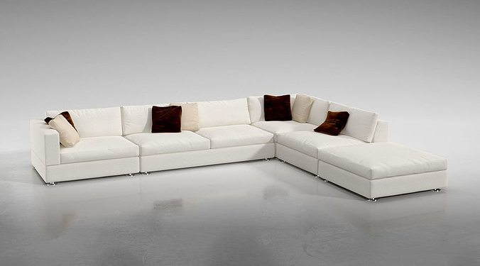 White L Shaped Sofa Model Obj Mtl 1