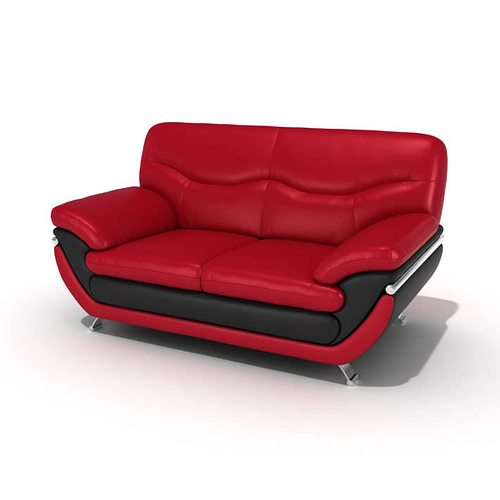 Red And Black Leather Sofa | 3D model
