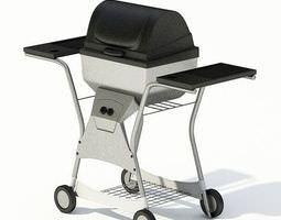 black outdoor  rolling metal grill 3d model