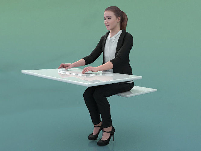 Nelly 20213-08 - Animated Woman Sitting On Desk With PC