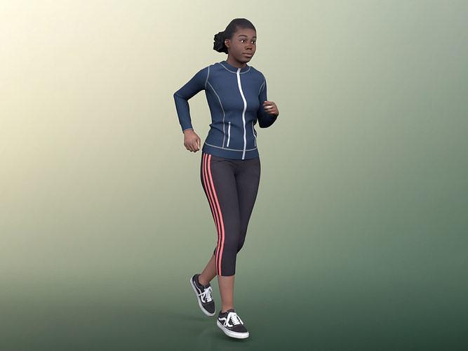 Serina 20029-03 - Animated Black Young Woman Jogging