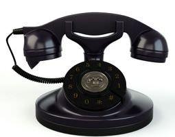Black Rotary Dial Phone 3D