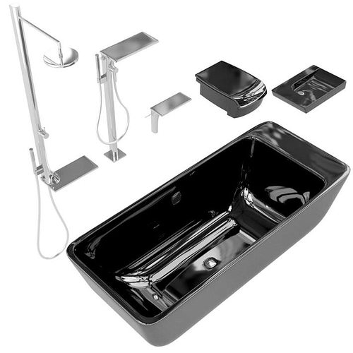 3d black and silver bathroom accessories cgtrader for Black and silver bathroom sets