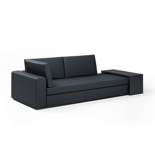 black modern sectional loveseat couch 3d model