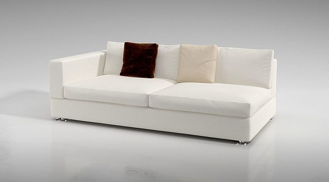 One Armed White Couch 3D Model