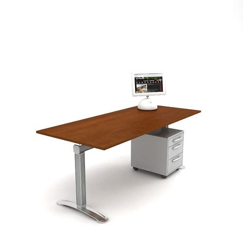 wood and metal office desk with drawers 3d model obj 1