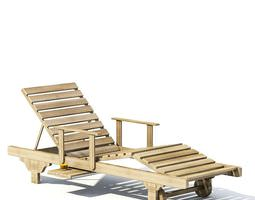 oak outdoor lounge chair with wheels and armrests 3d