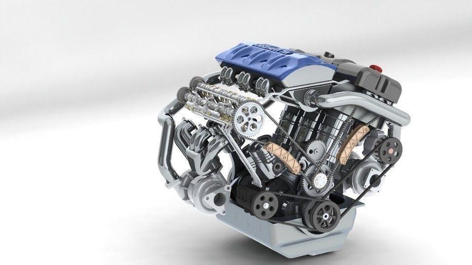 Turbo Diesel Register >> 3D model khelifaoui k-motor v6 bi-turbo | CGTrader