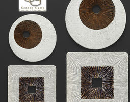 square encaved round ribbed wall art - set 3d