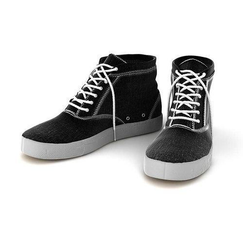 Black Hightop Tennis Shoes 3d Model Cgtrader