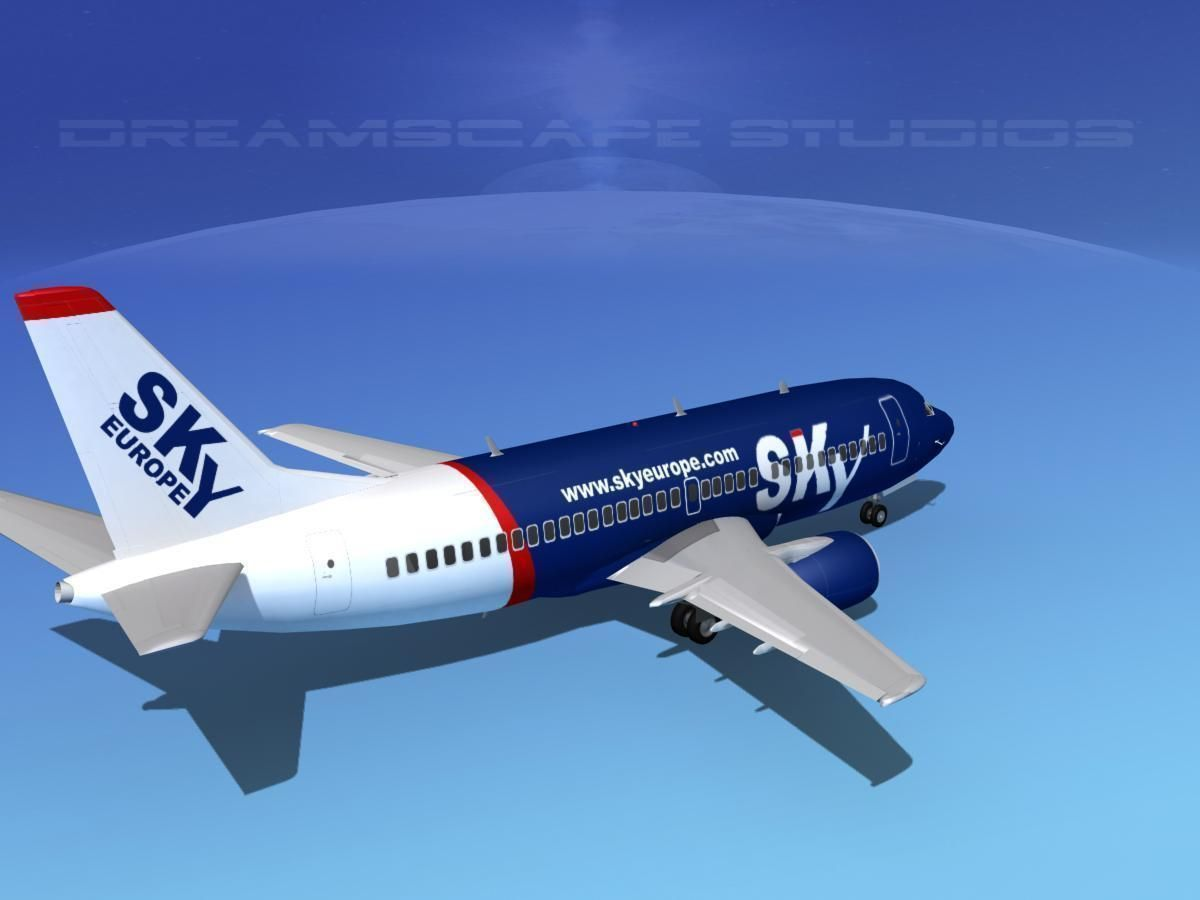 Boeing 737-300 Sky Europe 3D Model rigged MAX OBJ 3DS LWO ...