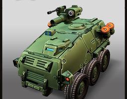 Cartoon APC 6x6 3D Model