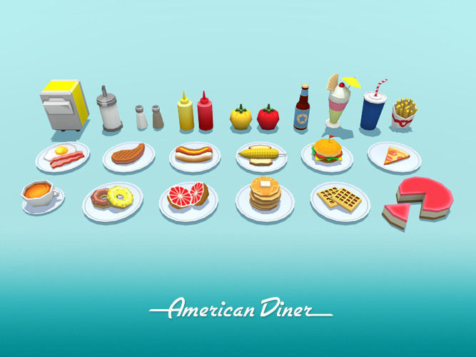 american diner food 3d model low-poly fbx 1