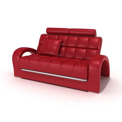 retro red couch with square pattern 3d model. Black Bedroom Furniture Sets. Home Design Ideas