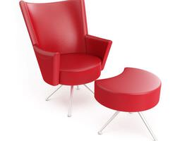 3D Red Chair With Ottoman