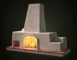 3d model cement fireplace set on a brick base